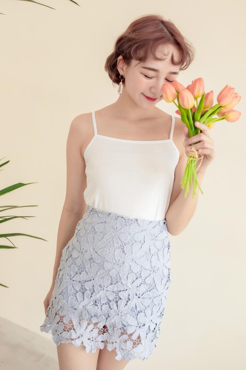 Floral Lace Skirt Arimee Petal Olive