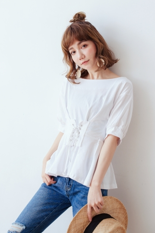 CORSET BLOUSE IN WHITE