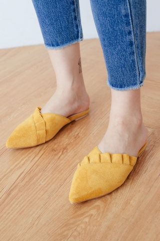 RUFFLED POINTED TOE MULES IN YELLOW
