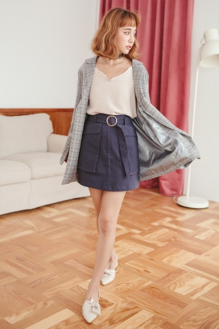 DOUBLE POCKET BELTED MINI SKIRT IN BLUE