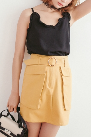 DOUBLE POCKET BELTED MINI SKIRT IN YELLOW