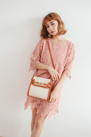 FULLY LACE SHIFT DRESS IN SALMON