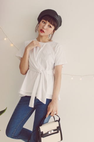 ASYMMETRICAL SELF-TIE PEPLUM TOP IN WHITE