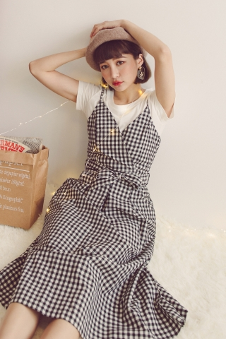 B&W CHECKERS LONGLINE DRESS