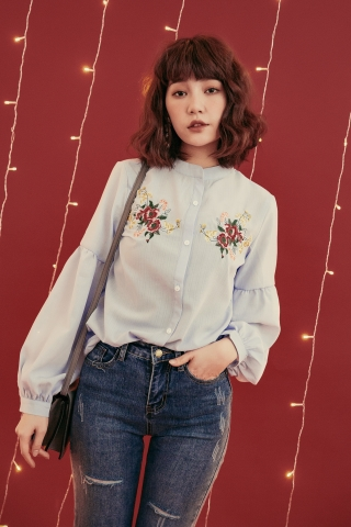EMBROIDERED PUFFY SLEEVE BLOUSE IN BLUE