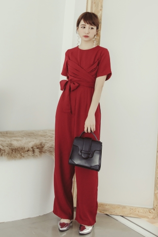 STARLIGHT WRAP FRONT JUMPSUIT IN RED