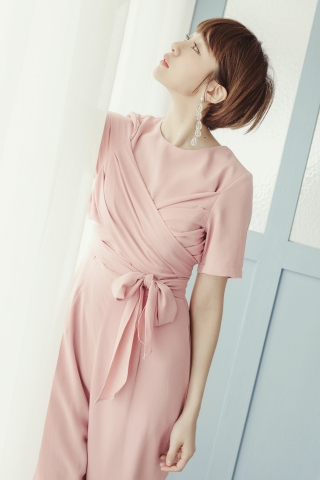 STARLIGHT WRAP FRONT JUMPSUIT IN PINK