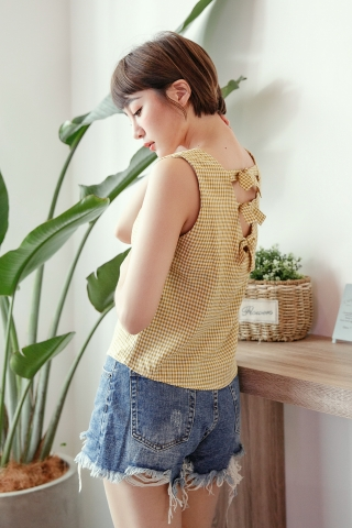 BACK RIBBONS SLEEVELESS CROP IN YELLOW