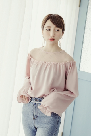 MESH DOTTED BLOUSE IN PINK