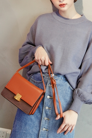 SQUARE BUCKLE CROSSBODY BAG IN BROWN