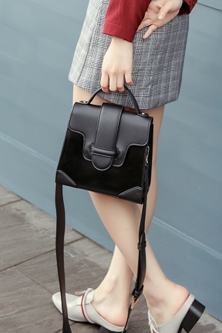 FAUX LEATHER CROSSBODY BAG IN BLACK