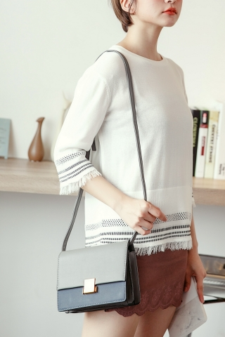 SQUARE BUCKLE CROSSBODY BAG IN GREY
