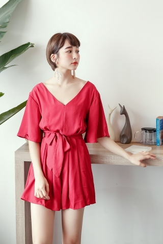 V-CUT FLARE CHIFFON ROMPER IN RED