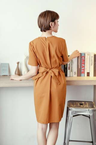 TWISTED RIBBON DRESS IN BROWN
