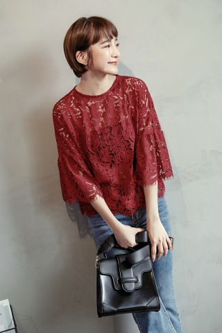 FULLY LACE BELL SLEEVE BLOUSE IN RED