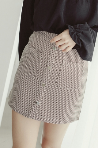 DOUBLE POCKETS CHECKERED SKIRTS
