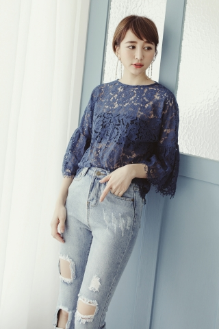 FULLY LACE BELL SLEEVE BLOUSE IN BLUE