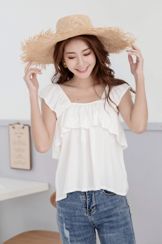 RUFFLE BABYDOLL TOP IN WHITE