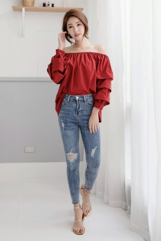 RUFFLE OFF THE-SHOULDER TOP IN RED
