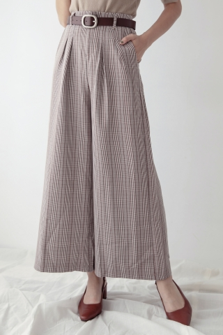 PLAID WIDE-LEG PANTS IN BROWN   *WITHOUT BELT