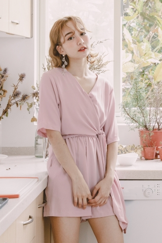 A' DAY KNOT ROMPER IN BABY PINK