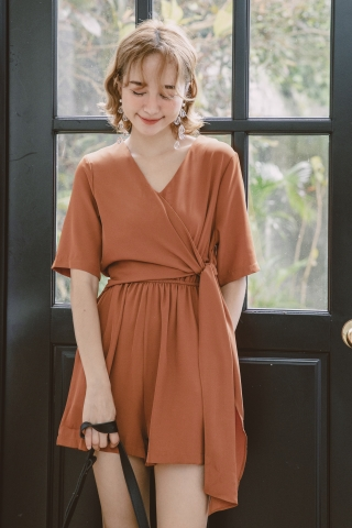 A' DAY KNOT ROMPER IN BROWN