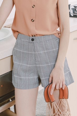 BROWN TAILORED CHECK SHORTS