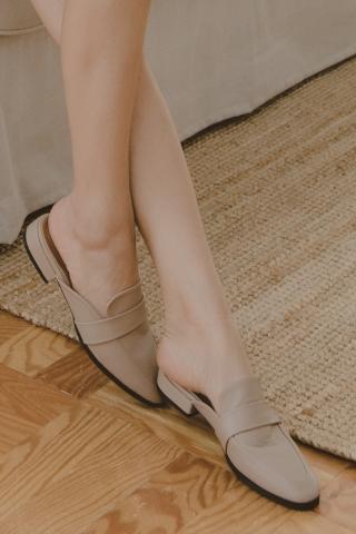 VELY-TOE SLIP-ONS IN BEIGE