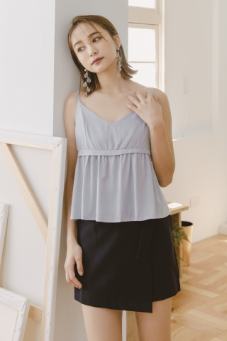 VELY CREPE CAMISOLE TOP IN ASH BLUE