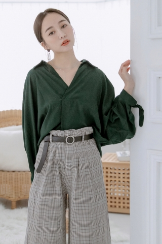 LITTLE V-NECK COLLAR SHIRT IN DARK GREEN