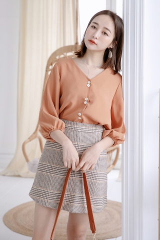 MIINE-MEE DOUBLE BUTTON BLOUSE IN DUSTY BROWN