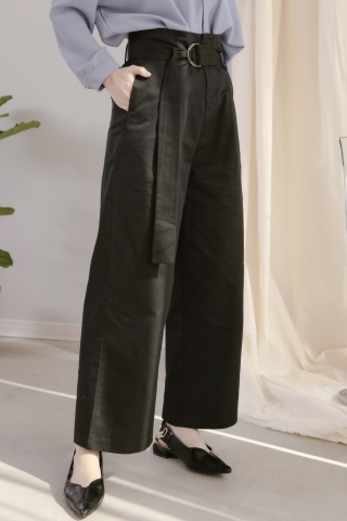 LES WIDE-LEG BELTED PANTS IN BLACK
