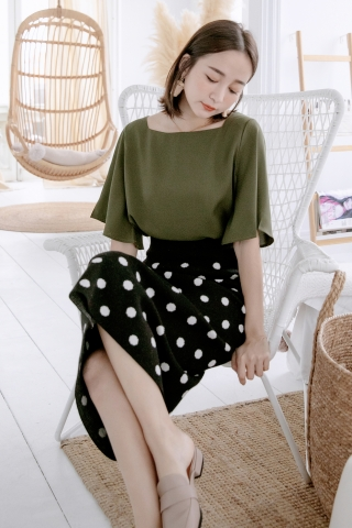 MIINE-MEE BASIC FLARE TOP IN OLIVE