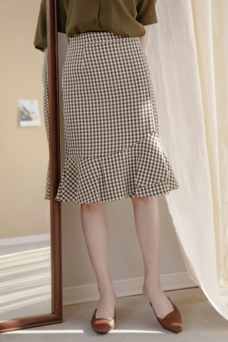 LES ASYMMETRICAL CHECKERS SKIRT