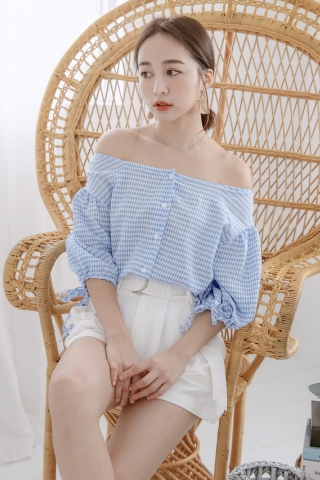 BONBON TWO WAYS CHECKERED TOP IN BLUE