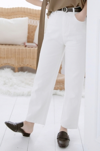 MINE-MEE DENIM CULOTTES PANTS IN WHITE
