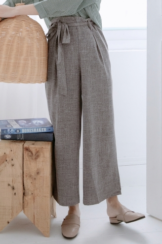 MERI DE TEXTURED WIDE-LEG BELTED PANTS IN DARK GREY