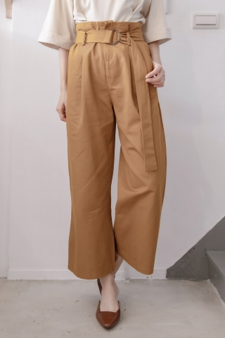 LES WIDE-LEG BELTED PANTS IN BROWN