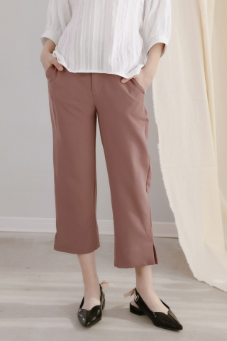 MIINE-MEE SPLIT HEM TAILORED PANTS IN DUSTY VIOLET