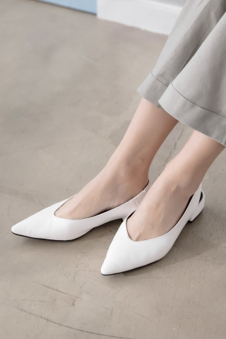 365 DAYS POINTED TOE  SLINGBACK FLATS IN WHITE