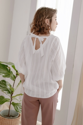 DAILY BASIC TEXTURED BLOUSE IN WHITE