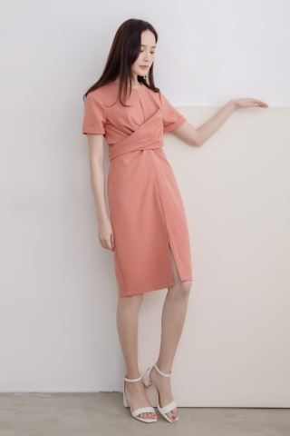 LUVFEE STRAP-TIE MIDI DRESS IN PEACH