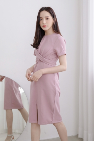 LUVFEE STRAP-TIE MIDI DRESS IN HONEY PINK