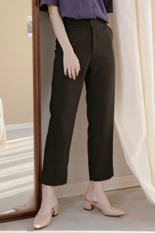 MERCI SPLIT HEM TAILORED PANTS IN BLACK