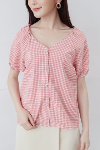 BONNE V-NECK CHECK TOP IN HONEY RED
