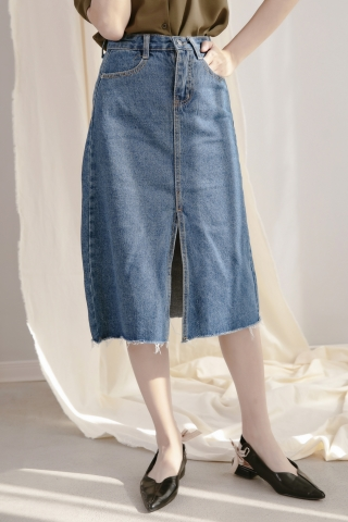 DAILY FRAYED HEM DENIM SKIRT