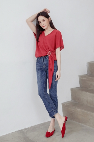 LUVFEE BUCKLE TOP IN RED