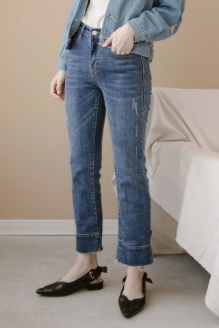 JO FRAYED DARK DENIM JEANS