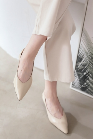 365 DAYS POINTED TOE  SLINGBACK FLATS IN KHAKI