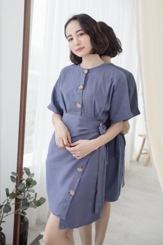 (BACKORDER) 22DAYS BUTTON WRAP DRESS IN DENIM BLUE